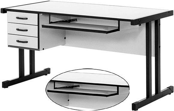 m veis mesa para computador com teclado retr til 3 gavetas